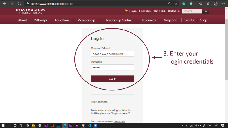 Step 2: Login with your account